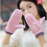 毛线手套女韩版加厚加绒连指简约保暖挂脖甜美可爱针织棉卡通萌
