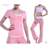 瑜伽服三件套 女 挂脖吊带短袖 修身显瘦长裤健身套装