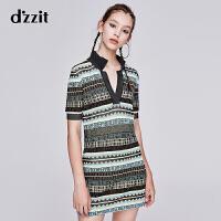 dzzit地素 2019秋专柜新款彩条提花短袖v领针织连衣裙女3G3E6052P