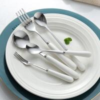 光一叉子饭勺套装ins风精致餐具日系不锈钢长柄韩式家用网红创意可爱