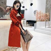 时尚红色长袖宽松外套女大码韩版简约中长款气质风衣女秋2018新款 醉酒红