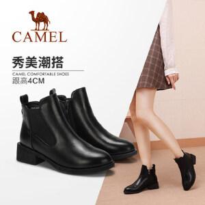 骆驼女鞋2018冬季新款百搭英伦切尔西靴休闲中跟粗跟秋单靴短靴女