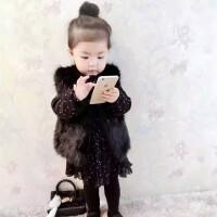 秋男女儿童皮草马甲韩版小中大童宝宝仿皮草棉外套短款背心童装