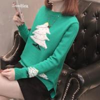 女士毛衣春装2018新款女短款针织套头打底衫上衣女韩版时尚百搭潮 绿色 S
