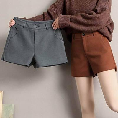 毛呢料短裤女秋冬新款时尚宽松显瘦百搭外穿靴裤阔腿裤
