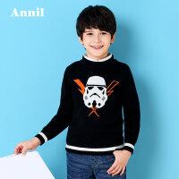 安奈儿男童毛线针织衫迪士尼童装男孩秋季新款中领棉线衫EB734325