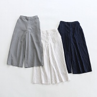 Y351特日单高端贵牌1万6千日元客供面料条纹通勤OL大气7分裤9分