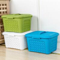 有盖手提可叠加藤编塑料收纳箱杂物储物箱百纳箱有盖镂空衣物收纳筐收纳篮桌面整理盒储物盒