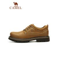 camel骆驼男鞋 时尚耐磨系带大头潮鞋舒牛皮适防滑车缝线工装鞋