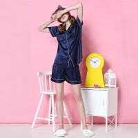 情侣睡衣女夏冰丝短袖韩版少女清新宽松短裤两件套家居服套装