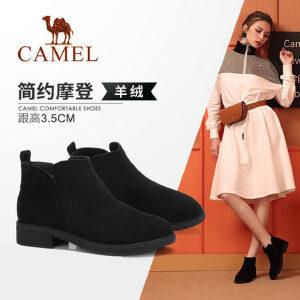 Camel/骆驼女鞋2018冬季新款 时尚大气粗低跟摩登潮流气质女短靴