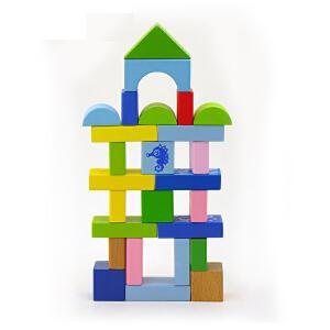 【当当自营】木玩世家 50粒海洋动物积木 智力木质积木 QJH1101