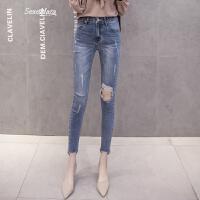 韩国2018春季新款巨显瘦紧身大破洞九分牛仔裤女高腰小脚铅笔裤潮 蓝色 S