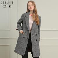 三彩2017冬装新款西装领复古格子呢大衣羊毛呢子外套女中长款
