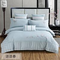 四件套全棉纯棉床笠款床上用品网红款床单被套夏季冰丝被子新中式