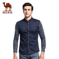 骆驼&熊猫联名系列男装衬衣 青年时尚印花日常休闲薄款长袖衬衫男