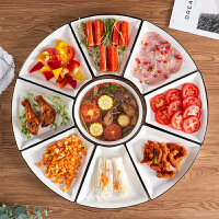 过年用的盘子年夜饭圆桌家庭火锅蔬菜陶瓷套装家用盘拼盘餐具组合