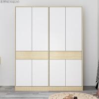 整体衣柜定制简约现代卧室家具实木平开门柜子北欧衣柜组合衣橱 白色衣柜 160*55*200cm 2门