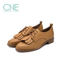 CNE2019春夏款纯色圆头舒适系带流苏低跟小皮鞋女单鞋9T27104