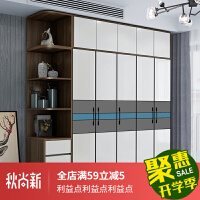 衣柜 组合 木质北欧组合现代简约家具卧室平开门三四五门大储物柜子木质衣橱 +顶柜+转角