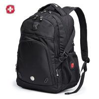 瑞士军刀【可礼品卡支付】男女式背包运动休闲双肩包 商务电脑包大容量书包 9017黑