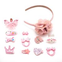 儿童发夹发箍小女孩公主淑女发卡可爱发饰女童头饰宝宝皮筋套装 粉红色 15件套
