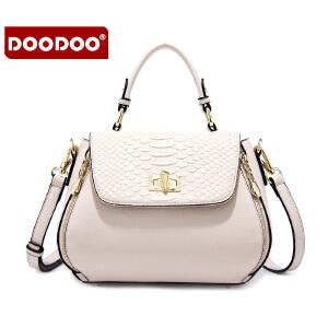 【支持礼品卡】DOODOO 2017新款潮流女包斜挎包日韩风范单肩包百搭蛇纹夏季女士手提包包 D6052