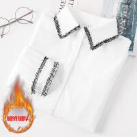 白衬衫女长袖2018秋冬新款韩范百搭学生宽松加厚加绒打底保暖衬衣