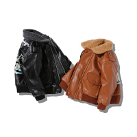 2017装新款宝宝加绒皮衣男童韩版加厚夹克小儿童外套1-2345岁潮
