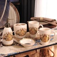 欧式复古浴室用品五件套 美式陶瓷卫浴洗漱品 漱口杯牙刷杯架