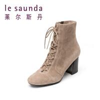 【到手参考价:457】莱尔斯丹 女靴专柜款系带高跟圆头中筒短靴8T70403