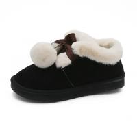 毛球雪地靴女2018冬季新款韩版短筒百搭学生加绒加厚保暖面包棉鞋
