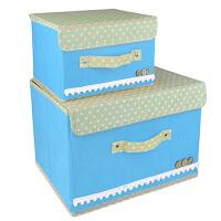 优芬彩色大小两件套扣扣收纳箱日式收纳盒无纺布储物箱带盖收纳箱 加厚衣物收纳 整理箱收纳盒 天蓝