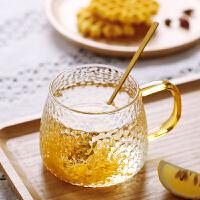 光一透明玻璃茶杯办公室用水杯简约带把有手柄喝花茶的杯子家用马克杯