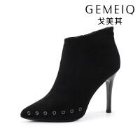 戈美其冬季新款尖头铆钉短靴及裸靴百搭细跟马丁靴加绒保暖女棉鞋