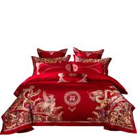 婚庆结婚床上用品大红全棉婚床十件套高档龙凤绣花喜被床品四件套