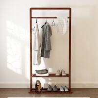 北欧实木衣帽架家用简约小户型创意客厅胡桃木置物挂衣架落地卧室