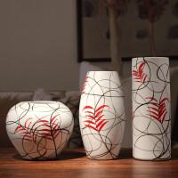 时尚现代简约花瓶摆件景德镇陶瓷干花花瓶三件套 客厅电视柜餐桌家居摆设件创意花插器