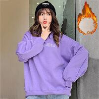 卫衣 女士圆领字母加绒长袖卫衣2019年冬季新款韩版时尚潮流女式宽松休闲女装套头衫