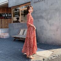 连衣裙 女士V领小清新印花雪纺长裙2020年秋季新款韩版时尚洋气女士清新甜美女装碎花裙