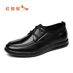 红蜻蜓皮鞋2017年秋季新款鞋子男休闲鞋中年真皮男士低帮单鞋正品