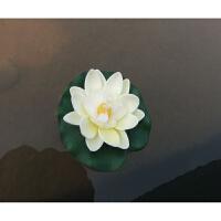 仿真荷花10cm假莲花鱼缸 睡莲两层半花瓣佛寺供品水生植漂物浮