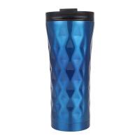 时尚渐变色不规则吸管保温杯菱形带盖304不锈钢大容量咖啡牛奶杯定制刻字 500ml