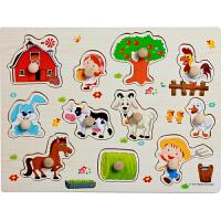 巧灵珑木质手抓板拼图木制宝宝早教益智力儿童认知玩具1-2-3-4岁