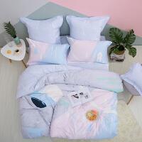 【大牌日狂欢返场 限时直降】LOVO家纺 全棉纯棉四件套件 简约时尚被套床单床上用品 梦幻飞行