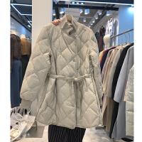 2018秋冬装中长款轻薄羽绒外套菱形格中长棉衣女