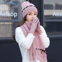 女士帽子围巾手套三件套 新款加厚保暖护耳帽女 户外防寒毛球毛线帽纯色