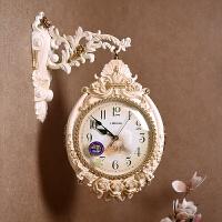 石英钟客厅双面挂钟欧式大气艺术钟表创意家用大挂表时尚个性时钟 乳白色 (偏暖色 罗马+数字表盘) 20英寸