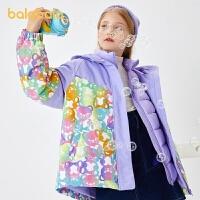 【2件6折�r:311.4】巴拉巴拉�和�羽�q服女童2020新款秋冬童�b中大童三合一�_�h衣甜美