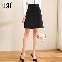 【2件3折到手价:159】OSA黑色高腰短裙女春秋OL职业a字半身裙2021年新款时尚气质裙子
